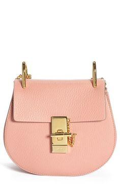 Chloe Small Drew Leather Shoulder Bag in Misty Rose