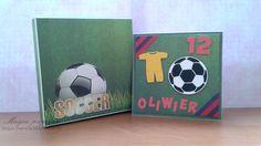 Taki komplet przygotowany został z okazji 12-tych urodzin Oliwiera. Wykorzystałam papiery z kolekcji The Soccer Collection oraz The Best of (Galeria Papieru). Piłkę oraz strój piłkarza pokleiłam kosteczkami 3D, dzięki czemu uzyskałam efekt przestrzenności.