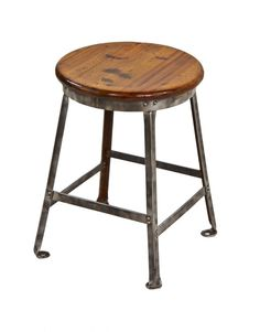 diminutive early 1930's american vintage industrial four-legged riveted joint angled steel factory stool with nicely weathered mahogany wood seat
