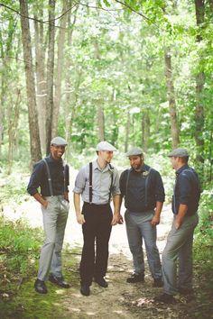 Grey groom style. Hats + Suspenders