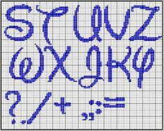 Alfabeto tipo Disney para punto de cruz.