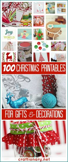 This is a Fabulous site!  100 Christmas Free Printables #christmas - craftionary.net