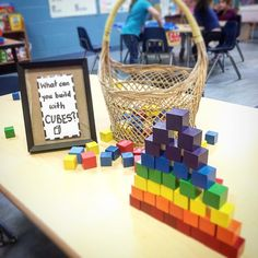 What can you build with cubes? A mix of 3D figures and the colors of the rainbow 🌈 #problemsolving #construction #earlyyears #rainbow…