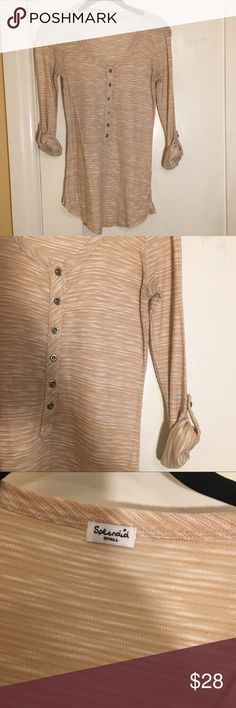 Splendid Slub Henley Top Button down Henley with roll up sleeves. Size small. Splendid Tops