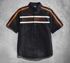 We built this shirt for the guy who likes to keep things simple.   Harley-Davidson Men's Wing Skull Chest Stripe Woven Shirt