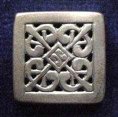 Antique button square  convex with a repeat by TheLadyatSkiers, £6.00