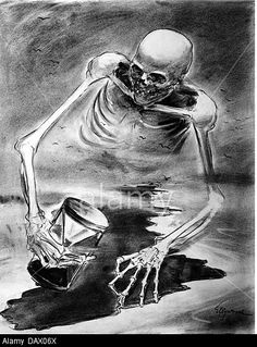 WWII, propaganda, Germany, death over England, drawing by von Helmuth Ellgard (1913 - 1980), 1940