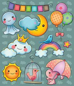 Weather Collection by cute cartoon illustration of various weather Kawaii Doodles, Cute Kawaii Drawings, Cute Doodles, Moon Cartoon, Cute Cartoon, Griffonnages Kawaii, Petit Tattoo, Cute Doodle Art, Baby Clip Art