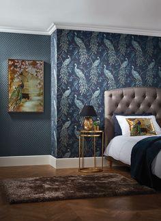 "Tapeta ""Lazzaro Blue"", 53 x 1005 cm Wallpaper Decor, Vinyl Wallpaper, Home Wallpaper, Wallpaper Roll, Teal Peacock Wallpaper, Bedroom Feature Wallpaper, Peacock Bedroom, Peacock Decor, Peacock Bird"