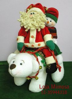 Projeto do Urso, Noel e Boneco de Neve Christmas Crafts, Christmas Decorations, Christmas Ornaments, Holiday Decor, Christmas Ideas, Christmas Quilt Patterns, Yule, Needle Felting, Quilts