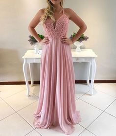 Charming A-Line Spaghetti Straps Sweetheart Pink Long Chiffon Prom Dress