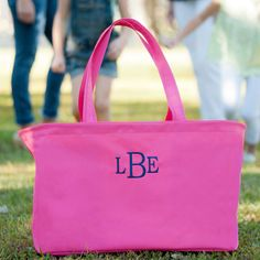Monogrammed Hot Pink Ultimate Tote - Hot Pink Tote - Oversized Hot Pink Tote by Lerissas on Etsy