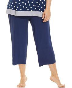 Ellen Tracy Plus Size Printed Capri Pajama Pants