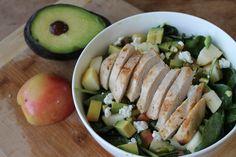 Apple, Goat Cheese + Avocado Salad (Pistachios, Garlic-Lemon Chicken, Honey Mustard Vinaigrette, Spinach) | A Spoonful of Sunshine