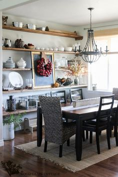 Looking to Decorating Dining Room Shelves On The Walls? Here are Dining Room Storage With Floating Shelves, Imposant Dining Room Designs With Shelves On The Walls and Wall Shelves Decorating Ideas. Dining Room Shelves, Dining Room Walls, Dining Room Design, Dining Room Furniture, Wall Shelves, Display Shelves, Rustic Shelves, Kitchen Wall Storage, Ceiling Shelves