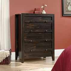 Sauder Dakota Pass 4-Drawer Chest in Char Pine