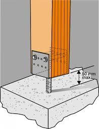 columna madera anclaje hierro