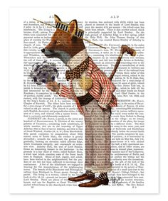 Fox in Boater Dictionary Print by FabFunky #zulily #zulilyfinds