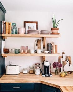 A chic kitchen renovation featuring open shelving and a farmhouse sink via Jess . A chic kitchen renovation featuring open shelving and a farmhouse sink via Jess Ann Kirby Always wanted to discover how . Kitchen Shelf Inspiration, Home Decor Inspiration, Decor Ideas, Decorating Ideas, Fun Ideas, Interior Decorating, Kitchen Shelves, Kitchen Dining, Kitchen Cabinets