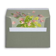 RUSTIC PINK GREY WILD FLOWERS & FERNS MONOGRAM ENVELOPE - spring gifts beautiful diy spring time new year