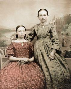 8 by 10 Civil War Photo Print 2 Girls Calico Dresses | eBay