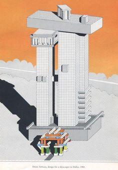 Design for a skyscraper in Dallas, Ettore Sottsass, 1983 Architecture Collage, Architecture Visualization, Architecture Drawings, Landscape Architecture, Felix Candela, Axonometric Drawing, Memphis Design, Technical Drawing, Art Design