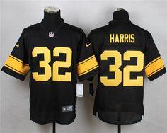 Men's NFL Pittsburgh Steelers #32 Harris Black-Yellow Elite Jersey
