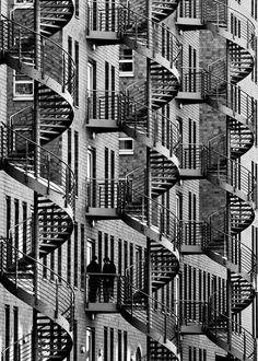 Smoking Break (Wendeltreppen / Spiralstaircases), Hamburg, 2013 by Margit Lisa Roeder on Curiator, the world's biggest collaborative art collection. City Photography, Abstract Photography, Pattern In Photography, Inspiring Photography, Fotojournalismus, Futuristic Architecture, Stairs Architecture, Architecture Details, Black And White Pictures