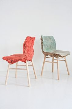chair seats made from furniture factory shavings http://www.itsnicethat.com/articles/well-proven-chair