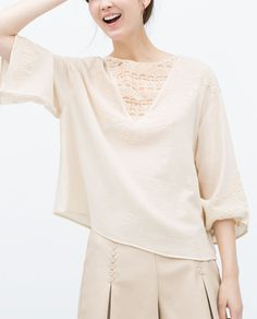 ZARA - NEW THIS WEEK - EMBROIDERED TOP