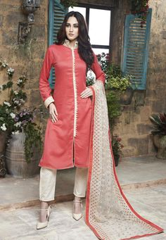 Peach and Cream Cotton Silk Party Wear Suit 7850/-