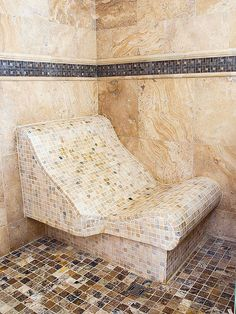 Curved Shower Bench - A built-in lounge chair custom-fit for the homeowner?s… Shower Chair, Shower Seat, Tub Shower Combo, Dream Shower, Walk In Shower, Shower Time, Rain Shower, Dream Bathrooms, Beautiful Bathrooms