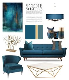 """""""Living room in Teal & Gold"""" by gangdise ❤ liked on Polyvore featuring interior, interiors, interior design, home, home decor, interior decorating, Thrive, Marella, Pier 1 Imports and Universal Lighting and Decor"""