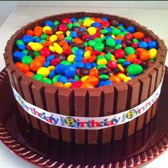 Russells birthday cake. Yellow cake; chocolate icing; Kit Kats; and, plain  peanut M Pinterest inspired!