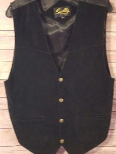 Scully Mens Medium Genuine Leather Western Vest Black #Scully #WesternVest