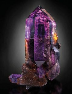 Brandberg Amethyst with Iron-stained Drusy Quartz - from Namibia. This is one of my favorite localities of Amethyst.