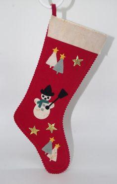 Felt Snowman, Snowman Tree, Vintage Christmas Stockings, Xmas Stockings, Little Valentine, Vintage Valentines, Felt Stocking, Metallic Paper, Red Felt