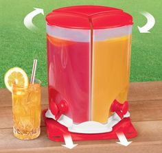 Drink Dispenser (E6099)  DISPENSER SERVES UP TO 3 DIFFERENT BEVERAGES AT ONCE! Great for entertaining or everyday use, each compartment holds up to a half gallon of lemonade, iced tea, fruit punch or milk. The base slides in and out plus spins for easy access to the drink of your choice.        $24.98  Quantity   (No reviews) Not yet rated. Be the first to  Write a review   Check Availability  ENLARGE PHOTO  VIEW VIDEO  EMAIL A FRIEND  ADD TO WISH LIST