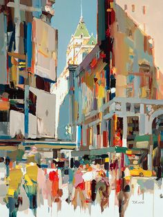 City of Dreams, Broadway and Avenue, NYC, Josef Kote Landscape Art, Landscape Paintings, Landscapes, Cityscape Art, Watercolor Art Paintings, City Painting, Building Art, Illustration, Naive Art