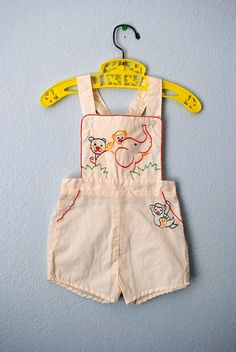 $35 US Baby and Toddler cotton rompers. Sizes 3 mos- 4T. Original: vintage baby cream jungle romper