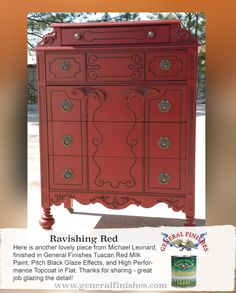 An absolute head turner! Michael Leonard used General Finishes Tuscan Red Milk Paint, Pitch Black Glaze Effects and High Performance Top Coat to take this piece to the next level. To get your own can of General Finishes Milk Paint, visit your local Rockler & Woodcraft stores, Amazon.com, or you can find a Retailer near you: http://generalfinishes.com/where-buy#.UxDeq14ahow. We'd love to see your projects made with General Finishes products! Use #GeneralFinishes or share with us on Facebook.
