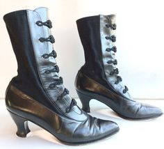 STUART WEITZMAN steampunk stretch goth granny leather BOOTS 8 victorian ~ AND, hold your breath, NO ZIPPER. They ARE period correct!! HUZZAH!