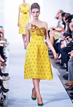 Sunny Yellow!  Yellow Color FashionTrend for Spring Summer 2013.  Oscar de la Renta Spring Summer 2013.  #fashion #trends