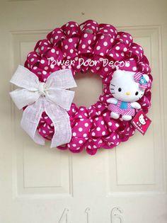 Hello Kitty Inspired Pink Polka Dot Wreath by TowerDoorDecor, $45.00