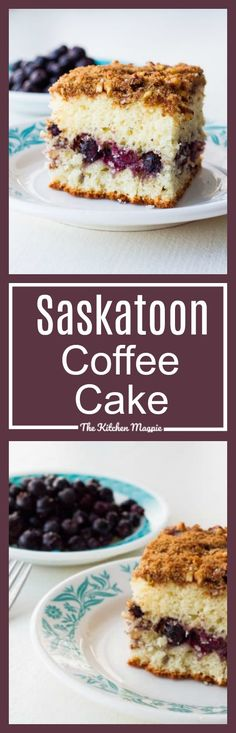 Use up those amazing Saskatoon prairie berries in this deliciously easy coffee cake with a decadent walnut streusel topping. Saskatoon Recipes, Saskatoon Berry Recipe, No Bake Desserts, Delicious Desserts, Yummy Food, Cake Recipes, Dessert Recipes, Bread Recipes, Easy To Make Breakfast