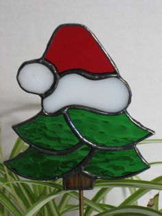 On sale now $17.00, reg $20 Stained Glass Christmas Tree Plant Stake Silly by GlassPizazz, $17.00