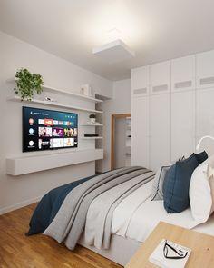 Bedroom Tv Wall, Room Design Bedroom, Bedroom Layouts, Room Ideas Bedroom, Home Room Design, Small Room Bedroom, Home Bedroom, Bedroom Decor, Cozy Room