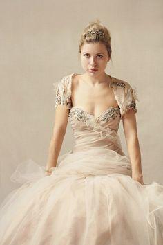 SANDY B strapless wedding gown/ dress with bolero jacket by upoppy, $1350.00