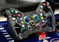 Presenting the steering wheel of Sebastian Vettel's Red Bull Racing RB8