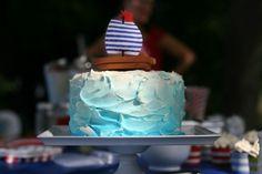 Nautical Ombre Birthday Cake
